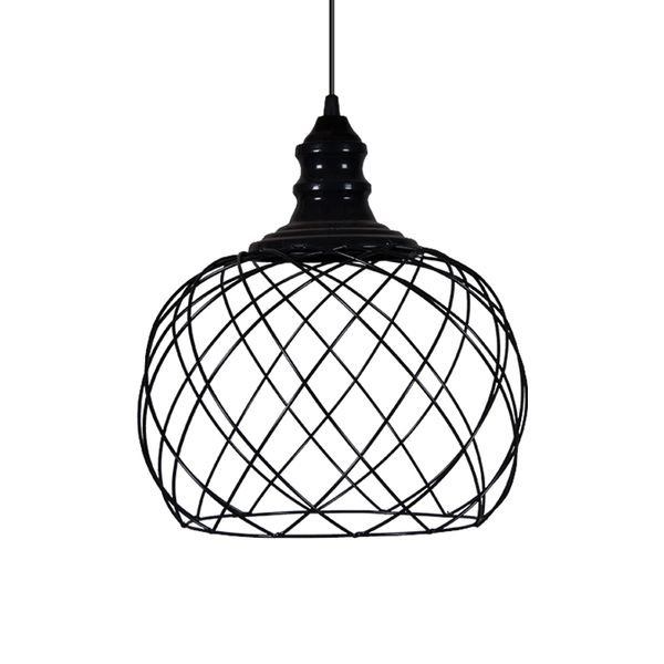 lustre pendente primor aramado esfera media preta e27 bivolt