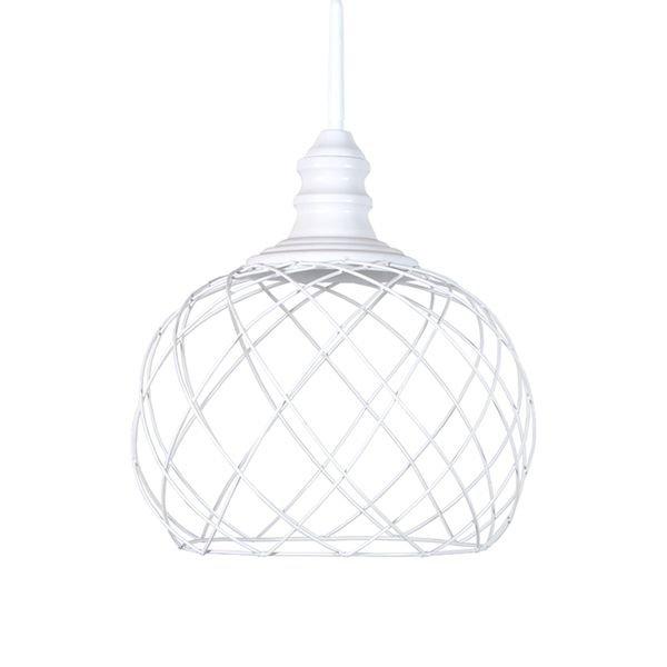 lustre pendente primor aramado esfera media branca e27 bivolt