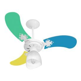 ventilador de teto venti delta new baby colors masc com 3 pas colorido