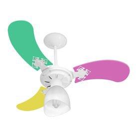 ventilador de teto venti delta new baby colors fem com 3 pas colorido