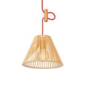 lustre pendente avant oka cone pequeno em madeira e27 bivolt 1