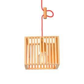 lustre pendente avant oka cube pequeno em madeira e27 bivolt 1