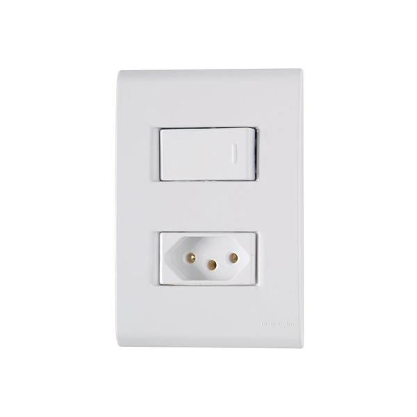interruptor simples e tomada 2p t 10a tramontina linha liz com placa 4x2 branco