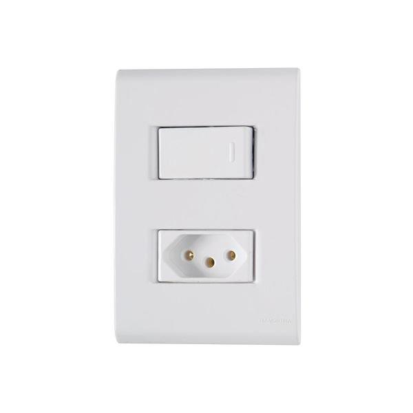 interruptor simples e tomada 2p t 20a tramontina linha liz com placa 4x2 branco