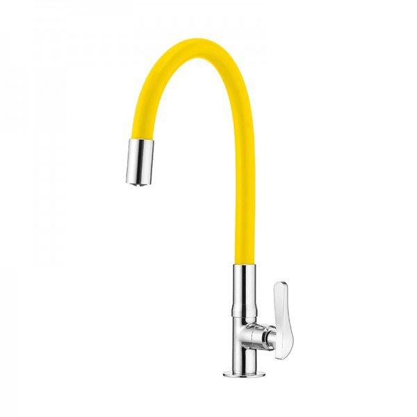 torneira lorenflex de bancada com bica flexivel lorenzetti 1177 y27 amarela 1