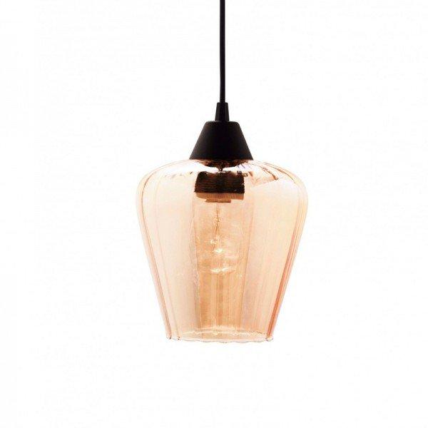 lustre pendente taschibra layla p e27 bivolt vidro canelado conhaque 1