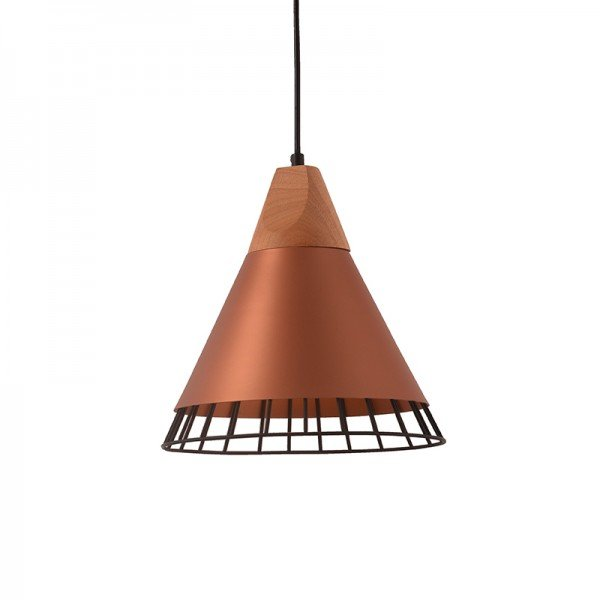 lustre pendente startec aramado wood e27 bivolt cobre 1