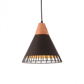 lustre pendente startec aramado wood e27 bivolt preto 1