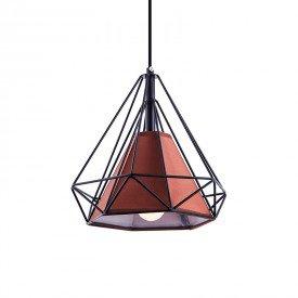 lustre pendente startec piramidal 25cm e27 bivolt preto e cafe 1