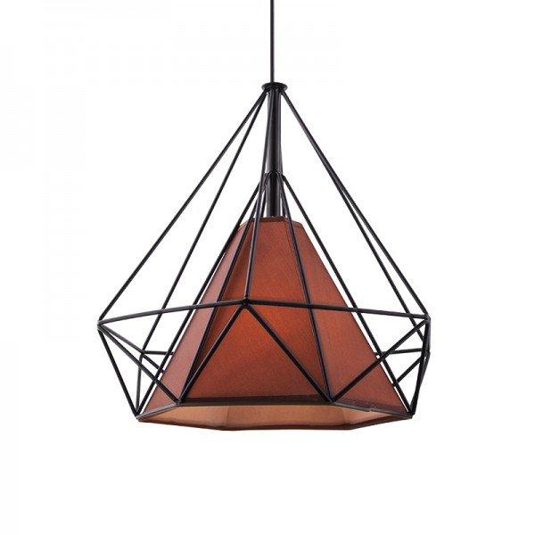 lustre pendente startec piramidal 38cm e27 bivolt preto e cafe 1