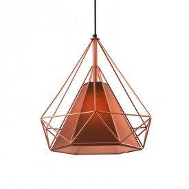 lustre pendente startec piramidal 38cm e27 bivolt cobre e cafe 1