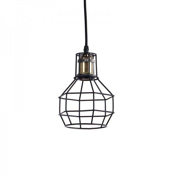 lustre pendente gradeado d11166 preto e27 bivolt 1