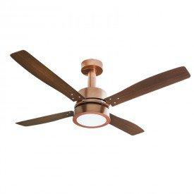 ventilador de teto venti delta vintage led com 4 pas marrom cobre 1