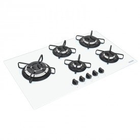 cooktop a gas tramontina penta side plus 94709371 com 5 bocas branco 1