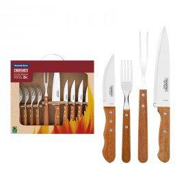 kit churrasco 10 pecas tramontina 22399037 madeira natural 1