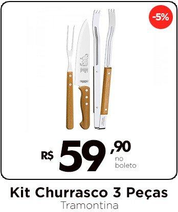 2 Kit Churrasco 3 peças