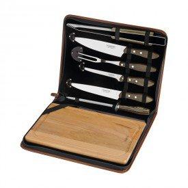 kit churrasco com tabua 7 pecas tramontina 21198965 com estojo castanho 1