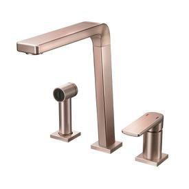 torneira misturador monocomando docol bistro 647369 com ducha manual de bancada cobre escovado 1