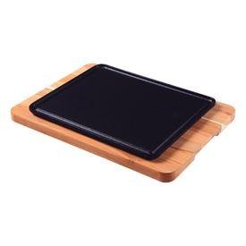 mix gril retangular tramontina 10239684 em ferro fundido e madeira teca 1